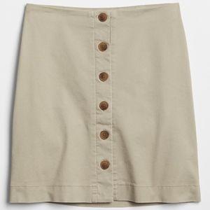 Button-Front Khaki Skirt NWT